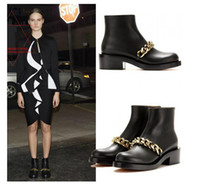 Wholesale 2014 HOT new Black flats chain boot brand name women s genuine leather riding bootie shoes