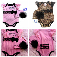 Wholesale 2014 summer months to months baby leopard onesies one piece rompers baby romper tutu bodysuit hats beanies two set ouffits