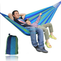 Wholesale OP Portable hammock tourism camping hunting Leisure hammock Stripes Canvas Blue Family Garden Outdoor Dropshing B2