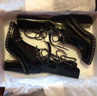 Wholesale New fashion leather boots in coarse high female boots with patent leather chain