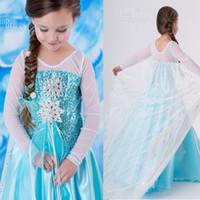 Cheap 2014 Elsa Dress Custom made Movie Cosplay Dress Summer Anna Girl Dress Frozen Princess Elsa Costume for Children 3-7Y