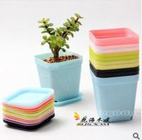 Wholesale flower pot cheap flower pots planters Multicolor plastic nursery pots flowerpot with tray bonsai garden supplies