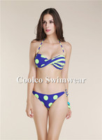 Wholesale Women dresses fashion sexy White Dot with Butterfly Swimwear Bikini Set Bathing Swimming Suit Drop shipping