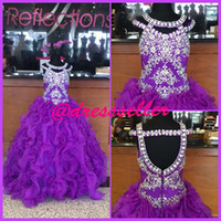 little girls party dresses - Purple Beading Shiny Dazzling Sexy Noble Attractive Long Girl s Pageant Dresses Floor Length Zipper Back Little Girl Party Gown