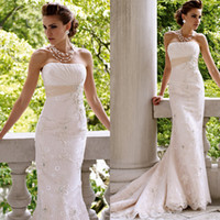 Wholesale Custom Made Vintage Wedding Dresses Lace Strapless Sweep Train White Bridal Gowns Sheath Applique Beading Crystal Wedding Dress Autumn