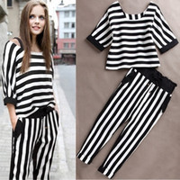 Cheap Spring New in 2014 Fashion Summer Women's Clothing Striped Tee Ladies Brand O Neck Tee T Shirt Stripe Casual Sexy Pants Suit Set