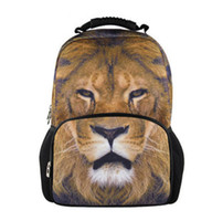 Wholesale 2014 Lion face animal school bag D backpack for teenage boy large zipper fashion bag students sports backpack BP62