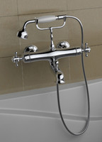 american brass faucets - American Modern wall mount chrome clawfoot tub faucet exposed thermostatic bath shower mixer set solid brass telephone type DN36101