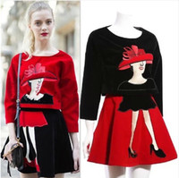 Cheap Spring New 2014 Fashion Pullover Women Head Jumper Crop Top+Short Soft High Quality Red Skirts Suit Clothing Set