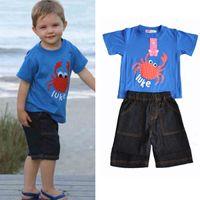 Wholesale Retail Kids clothing set pajama sets baby boys suits red dot Crab cute Eyes clothes sets pc set tops t shirt pants blue jeans lm