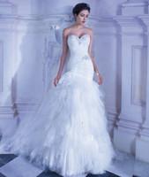 Cheap 2014 Lace Wedding Dresses Sweetheart Vestidos De Novia beaded crystal cascading ruffles demetrios 553 lace up back Mermaid Bridal Gowns