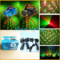Wholesale 24pcs Hottest Black and blue Mini Projector Red Green Disco Light Stage Xmas Party Laser Lighting Show