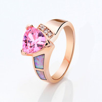 Three Stone Rings Unisex Party Jewelry New pink sapphire opal lady's 10KT yellow Gold Filled wedding ring size7 8 9 10