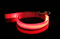 webbing belt - Newest Webbing LED Flashing Lead LED Dog Leash Pet Rope Nylon Belt Harness Dog Training Lead Collar Rope Pet Dog Supplies