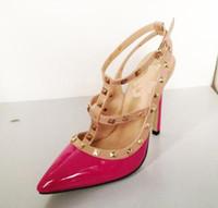 Wholesale Luxurious Elegant Women Cusp Shoes Rivet Street Wedding Dress Shoes Bridal Shoes High heeled Shoes Lady Sandals Shoes Pink Black Rose K0705