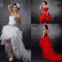 goose feathers - 2015 New Feathers Goose feather Beads Crystal Front Short Long Back Tulle Prom Short Wedding Dresses
