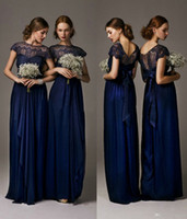 Wholesale Beautiful Design Column Evening Dresses Crew Neck Cap Sleeve Navy Floor Length Long Chiffon Lace Formal Party Gowns Custom Made