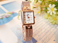 Wholesale Fashion Lady Quartz watch diamond gold or white surface wristwatches for female Round Luxury Square