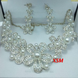Wholesale 2014 Sterling Sliver Flower Pearl Wedding Bridal Jewelry Set Cheap Good Quality Necklace And Earrings In Stock Hot Sale LN