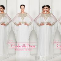 Cheap Arabic Dubai ABAYA KAFTAN white Arrival Zuhair Murad Muslim Dress Poet Long Sleeve With Beaded Chiffon Evening Dresses formal gowns BO3486