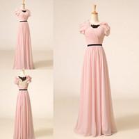 long sleeve pink bridesmaid dresses - Real Sample Pink Long Bridesmaid Dresses Short Sleeves V Neck Floor Length Black Sash Floor Length A Line Chiffon Evening Dress Party Dress