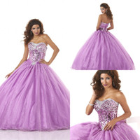 Cheap Lovely Purple Vestido De 15 Anos 2014 Curto Quinceanera Dresses Crystal Sequin Ball Gown Made In China Girl Party Dresses Organza 2-14 ZC
