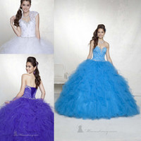 Wholesale New Princess Quinceanera Dresses Sweetheart Crystals Lace Organza Lace up Back Floor Length with Jacket Ruffles Ball Gown Bridal Gowns
