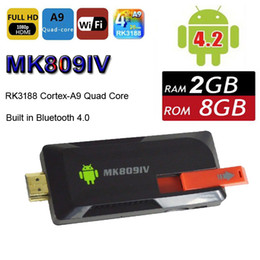 Wholesale MK809IV Quad Core TV Box Android RK3128 G G WIFI Bluetooth Stick P HDMI IPTV Smart Mini PC Media Player Dongle XBMC MK809 IV