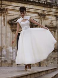 New Arrival Elegant A Line Organza Short Wedding Dresses With Wrap Fashion Ankle Length Sash Custom Made Vintage Princess Bridal Gowns W1204