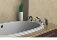american bathroom sinks - American Modern handles bathroom faucet holes bath tub shower mixer set sink tap solid brass chrome high grade DN38102