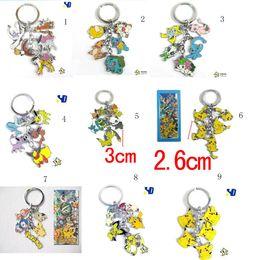 Wholesale More styles CHEAP Anime Cartoon Pokemon Pikachu Keychains Metal Figures Pendants Key Chains