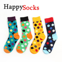 Wholesale 2014 Happy socks fashion high quality men s polka dot socks men s casual cotton socks color socks colors pairs