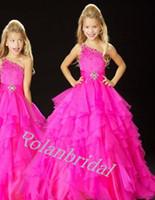 Cheap 2014 Cute Little Kids Flower Girls Pagenat Dresses Hot Pink Beaded Princess Organza Sheer ball gown For Wedding Cheap