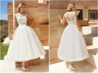 Wholesale New Arrival Tulle Princess Lace Ball Gown Wedding Dresses Beaded Sash Bateau Fashion Appliques Ankle Length Low Back Hot Bridal W1205