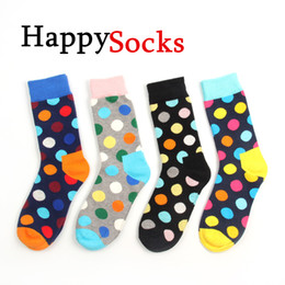 Wholesale 2014 Happy socks fashion high quality men s polka dot socks men s casual cotton socks color socks colors pairs