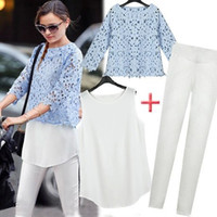 Cheap Spring New in 2014 Fashion Women Summer Floral Lace Chiffon Blouses+Pencil Pants Trousers Legging Casual Suit Clothing 3 PCS Set