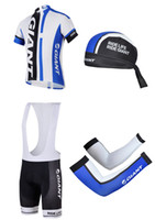 Short arm lycra shirts - 2014 Blue Giant Cycling Jersey Sets High Quality Men Bib Short with Bicycle Shirt Cycling Caps and Blue Giant Cycling Arm Warmers