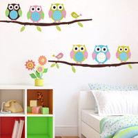 owl decor - Cartoon Cute Six Owl on Tree DIY Wall Sticke Wallpaper Stickers Design Art Decor Mural Kid s Child Living Room Decal Home Decoration H11570