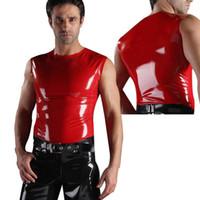 Zentai / Catsuit Costumes latex suit - USPS latex top men s tank rubber tank latex tank suit latex vest mens vest mm pure latex not fuax leather not vinyl