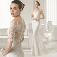 Cheap Sexy Spaghetti Straps Trumpet Mermaid Wedding Dresses with Jacket Lace Applique Beads Bridal Gown yk1A407