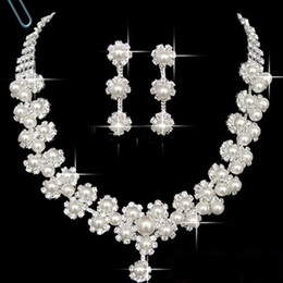 Wholesale Elegant Charming Royal Fashion Girls Jewelry Sets Necklace Earring With Pearls Crystal Shiny For Wedding Brides New