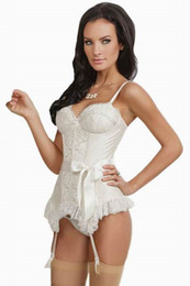 Wholesale Sexy Women Underwear Lingerie Pretty Girl Sleepwear Ivory Elegance Ribbon Attached Bustier With Thong LC1162