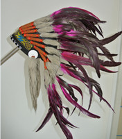 Wholesale Ready to ship Indian Warbonnet Native American Indian Feather Headdress Hot Pink HD006