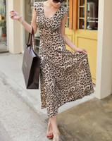 Casual Dresses Pleated Dresses V-Neck Hot Sale Apparel Gorgeous Leopard Maxi Summer Casual Long Boho Dress Fashion Women Clothes Sundress Gown B4747