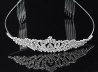 Tiaras&Crowns Rhinestone/Crystal  In Stock Fashion Romantic 2015 Free Shipping Shiny Crystal Wedding Bridal Royal Crowns Tiaras Hair Accessories Charming Fast Shipping New