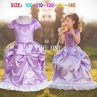 achat en gros de filles robe fantaisie courte-robes de soirée princesse pourpre costume manches courtes costume de princesse robe de fille robe en dentelle ourlet costumes de fantaisie pour enfants princesse Sophie tutu