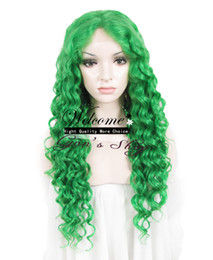 Wholesale Drag Queen Wig quot Extra Long Green Heat Friendly Synthetic Hair Fashion Curly Wig N18 T6138