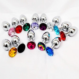 Wholesale HOT Aluminum Butt Plug Metal Anal Hook Ball Toy Fisting Toys Jeweled Bondage Gear Metal Sex Products