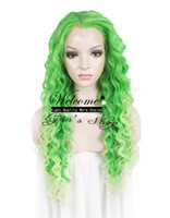 Wholesale Drag Queen Wig quot Extra Long Green Heat Friendly Synthetic Hair Fashion Curly Wig N18 TF2605 TF2606