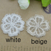 Wholesale 5CM DIY hair accessories water soluble white beige lace trim garment decoration round floral tassel trimming free ship